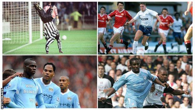 En haut à gauche: Faustino Asprilla, en haut à droite: Paul Gascoigne, en bas à gauche: Mario Balotelli, en bas à droite: Jay-Jay Okocha