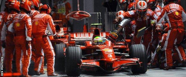 Felipe Massa at the 2008 Singapore GP