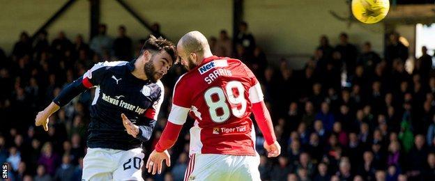 Dundee striker Faissal El Bakhtaoui gets a header away under pressure from Hamilton's Georgios Sarris