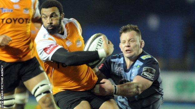 Uzair Cassiem in action for Cheetahs against Cardiff Blues