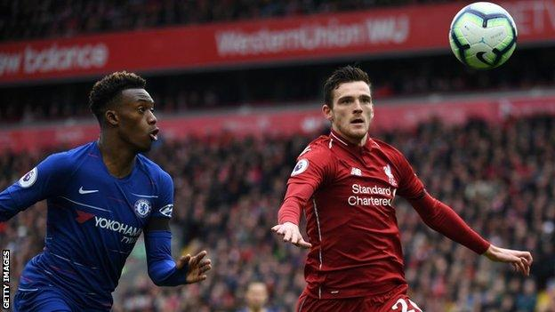 Andrew Robertson in action against Chelsea