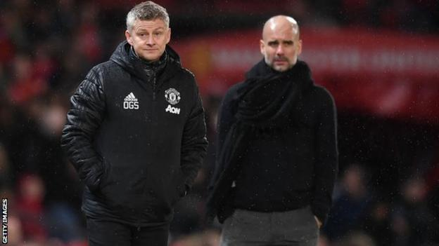 Manchester United boss Ole Gunnar Solskjaer and Manchester City manager Pep Guardiola on the touchline