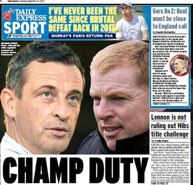 The back page of the Scottish Daily Express on 260920