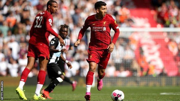 Liverpool's Roberto Firmino in possession against Newcastle