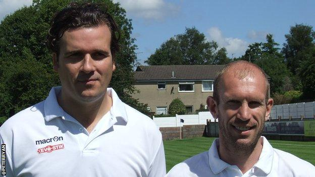 Former Wales international Simon Haworth (left) with Clitheroe assistant Gareth Roberts, the former Wales and Derby defender