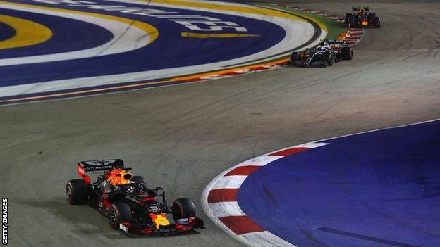 Red Bull driver Max Verstappen drives on the street circuit at the 2019 Singapore Grand Prix