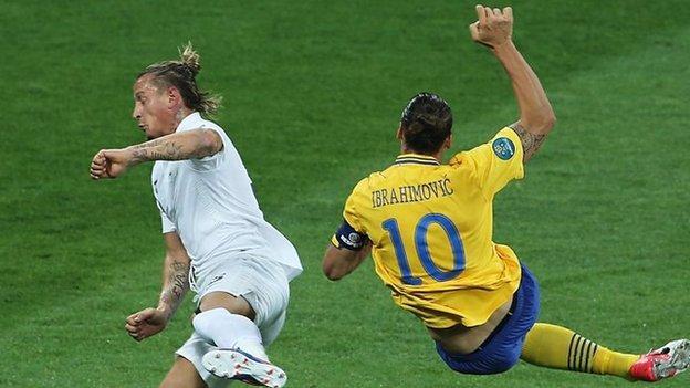 Zlatan Ibrahimovic scores fro Sweden at Euro 2012