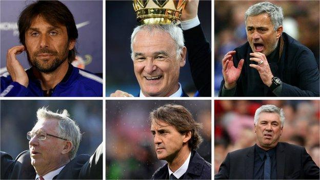 Antonio Conte, Claudio Ranieri, Jose Mourinho, Alex Ferguson, Roberto Mancini, Carlo Ancelotti