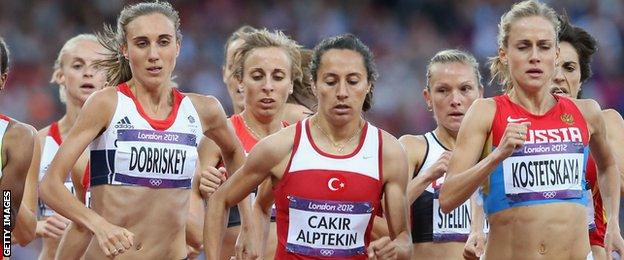 Lisa Dobriskey competing in the women's 1500m final at the 2012 Olympics