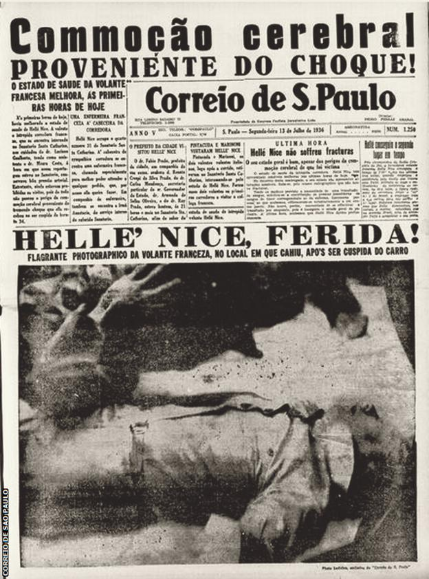 Helle Nice photographed unconscious on the front page of a Brazilian newspaper