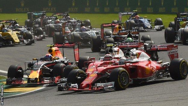 Max Verstappen (left) collided with the two Ferrari drivers at La Source hairpin at the start of the Belgium Grand Prix