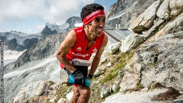 Zaid Ait Malek competing at a Skyrunning event in Switzerland