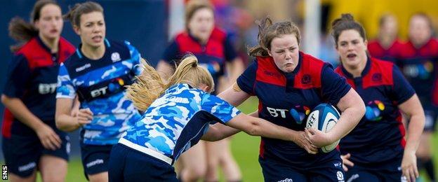 Scotland women's rugby team in training
