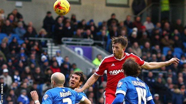 Danny Collins scores for Forest against Brighton last season