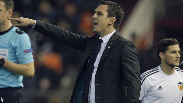 Valencia manager Gary Neville