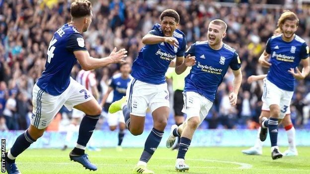 Jude Bellingham celebrates scoring for Birmingham City against Stoke City