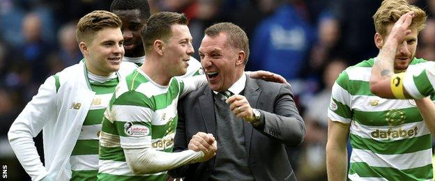 Brendan Rodgers and Callum McGregor celebrate Celtic's latest Old Firm derby victory