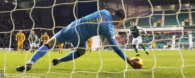 Liam Kelly saved Florian Kamberi's penalty before Hibs found an equaliser
