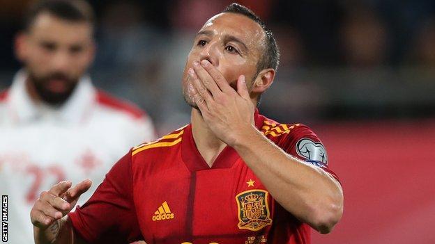 Santi Cazorla celebrates scoring for Spain