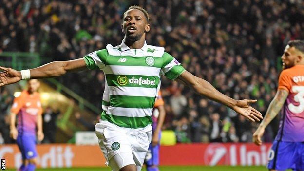 Celtic's Moussa Dembele celebrates against Manchester City