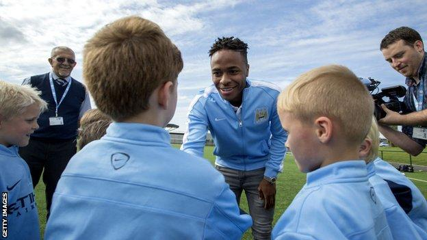 Raheem Sterling meets young Manchester City fans