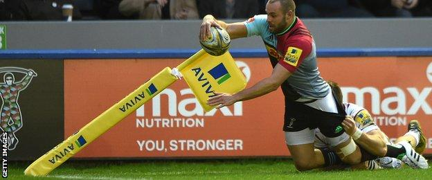 Harlequins winger Ross Chisholm denied a try