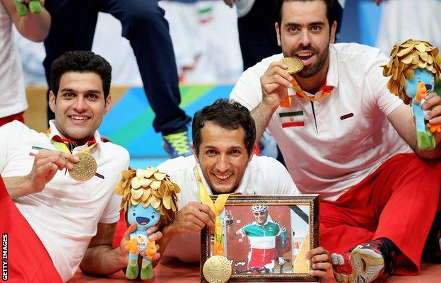 Iran's sitting volleyball team paid tribute to Golbarnezhad after winning gold