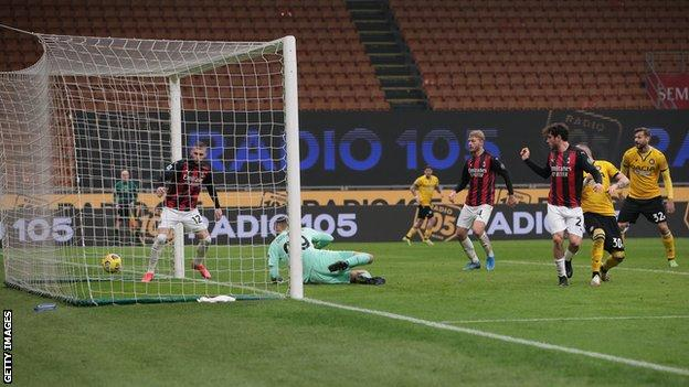 Udinese score against AC Milan in Serie A