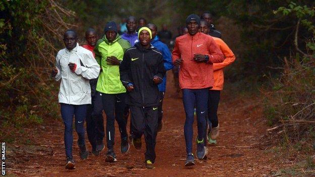 Eliud Kipchoge training in Kenya