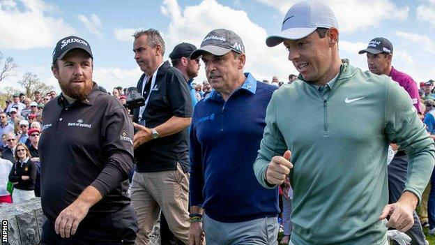 (L-R): Shane Lowry, Paul McGinley and Rory McIlroy