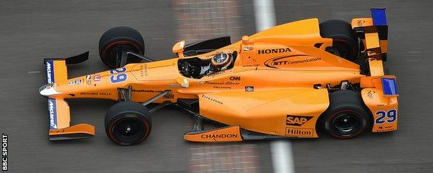 Alonso during testing for the Indy 500