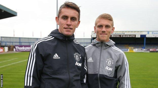 Galbraith (right) with Manchester United Under-18s coach Kieran McKenna