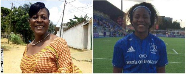 Linda Djougang's mum in Cameroon on the left and Linda Djougang in Leinster kit on the right