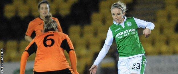 Hibs' Rachael Small (right) takes on Glasgow City's Jo Love