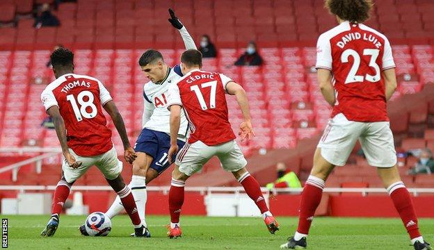 Erik Lamela puts Tottenham in front against Arsenal