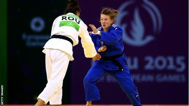 Kelly Edwards (right) in action at the European Games
