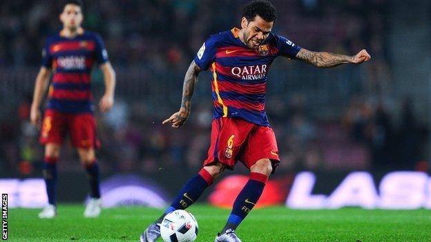 Dani Alves playing for Barcelona