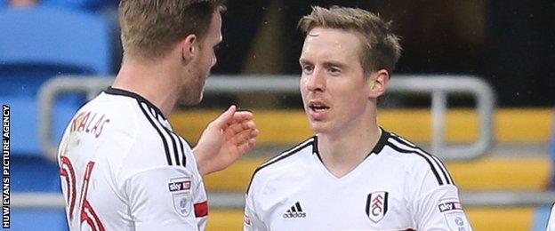 Stefan Johansen celebrates after scoring for Fulham