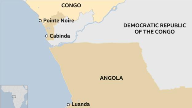 Map showing Angola, Congo and DR Congo