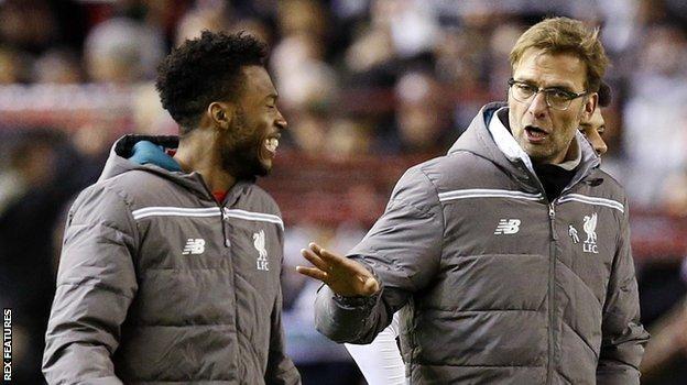 Daniel Sturridge with his Liverpool manager Jurgen Klopp