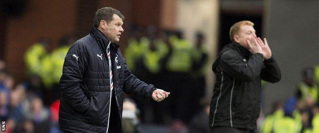 Rangers manager Graeme Murty (left) and Hibs boss Neil Lennon