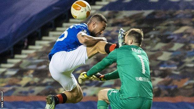 Kemar Roofe was sent off for a high tackle on Slavia Prague's goalkeeper