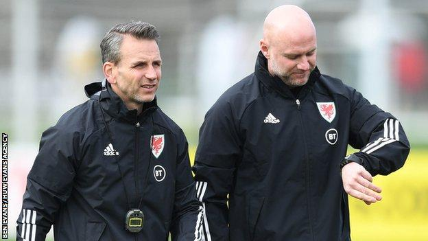 Albert Stuivenberg (left) was part of Rob Page's backroom staff for Wales' Euro 2020 campaign