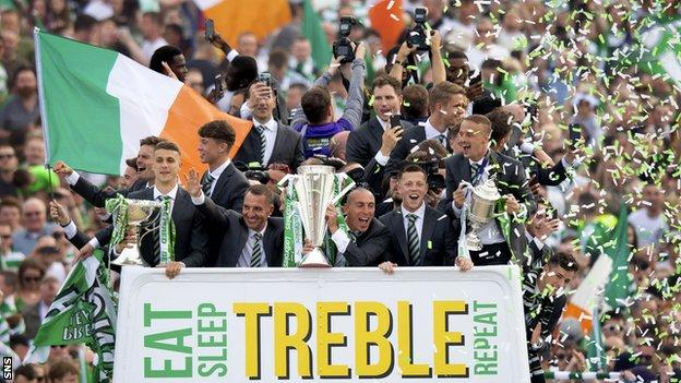 Celtic are going for their ninth successive title and 11th domestic trophy in a row