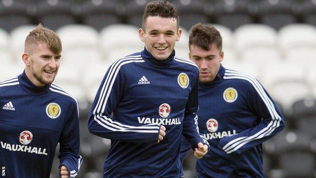 John McGinn in training with Scotland Under-21s