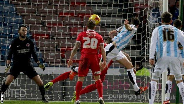 Mark Hudson scores Huddersfield's first goal