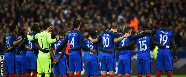 France players during a minute's silence before their game with Russia