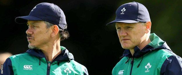 Les Kiss and Joe Schmidt during Ireland's World Cup campaign