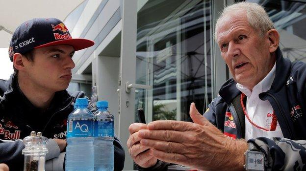 Max Verstappen speaking to Red Bull's head of driver development programme Dr Helmut Marko at the Russian Grand Prix
