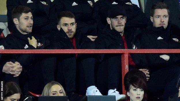 Ben Davies, Aaron Ramsey, Gareth Bale and Wayne Hennessey